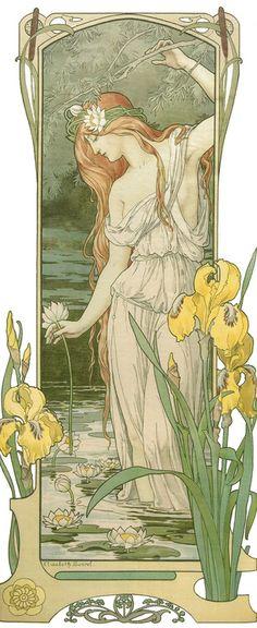 Elisabeth Sonrel (1874-1953) - Fleurs des Eaux Fleurs des Eaux (Water Flowers) - by Elizabeth Sonrel (French, 1874-1953) - post card