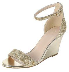 785d4c72f42 Women s Open Toe Single Band Buckle Ankle Strappy Glitter Dress Wedge  Sandal - Gold - C51800SIM2U