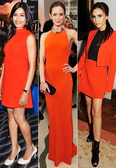 Trend Alert: Freida Pinto, Emily Blunt, and Victoria Beckham braved coral, one of Spring's hottest shades.  (Always a hot shade at Isbel!)