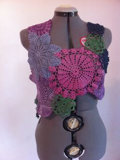 Adorable lace, romantic doily crocheted top, hand dyed, tye dyed, patchwork top