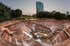 Incredible landscaping at Fort Worth Water Gardens, downtown Fort Worth, Texas;  designed by architect Phillip Johnson - photo from Landscape Architects Network, via Facebook