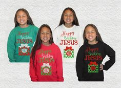 Kids Christmas Shirt|Happy Birthday Jesus|Christian Christmas Shirt|girls christmas shirt|glitter monogram|Christmas Outfit|Holiday Outfit by GavinsAllyeDesigns on Etsy