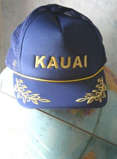 fe175e7a951 Fantastic Vintage 80 s Embroidered Bullion Kauai Hawaii Dead Stock Magic Cap  Brand Mesh Snap Back Truckers
