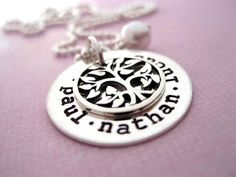 family tree jewelry                                        Was always looking for something classy and beautiful at the same time with my children's names on it to wear. This may be it. Love it!