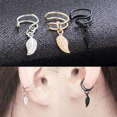 Wrap Helix Punk Rock Ear Earrings Fashion Women Cuff Wrap No Piercing-Clip On Moonstone Earrings, Ear Earrings, Bridal Earrings, Clip On Earrings, Black Earrings, Ear Jewelry, Jewelry For Her, Cute Jewelry, Jewelry Necklaces