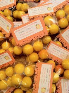Georgia Peach Gumball Favors :  wedding bags candy cellophane favor favors gum gumballs peach peaches 1gum