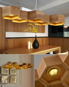 It's weird, but this kind of decor, Like a wood chandelier lighting does not go out for fashion for centuries. Chandelier Art, Wooden Chandelier, Wood Lamps, Pendant Lamps, Wooden Wall Lights, Wooden Walls, Lamp Design, Wood Design, Bamboo Light