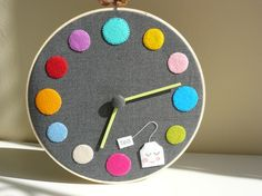 Clock in an embroidery hoop, covered with felt. I can do this!!!!
