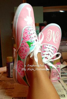 Lilly Pulitzer Inspired Hand Painted Custom keds by ASouthernSole, $55.00