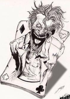 The joker by yhali Le Joker Batman, Joker Art, Joker And Harley Quinn, Joker Drawings, Dark Art Drawings, Tattoo Drawings, Art Tattoos, Joker Card Tattoo, Joker Tattoos