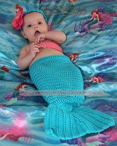 Disney Crochet Ariel The Little Mermaid Costume - Cocoon Tail, Flower Headband, Bandeau style Bikini Top - photo prop - for newborn to 2 mo