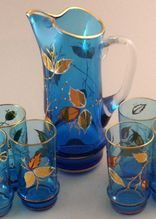 Vintage 7 Pc. Hand-Painted & Gold-Leafed Cat-Tail Pitcher & Glasses Set