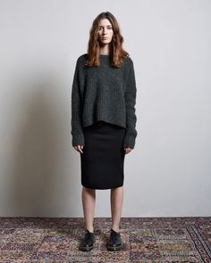 Rag & Bone / Ivana Pullover Rag & Bone / Roxy Pencil Skirt Comme des Garçons Comme des Garçons / Dr Martens Vintage 1461 Shoe #lagarconneatelier