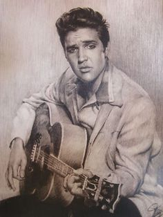 Elvis Presley  Charcoal Graphite Pencil Drawing
