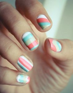 Mix nail art patterns using the same color palette for quirky nail art.