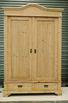 """antique pine wardrobes www.stourbridgeantiquepine.co.uk - original two door wardrobe - breakdown knockdown - with drawers shelves and rail - restored bare wood ready to wax or paint - price includes finish with fiddes antique brown wax - W:54.00"""" x H:82.00"""" x D:23.00"""" £750"""