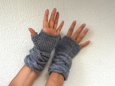 Gray Fingerless Gloves Mittens Wrist Warmers by reflectionsbyds