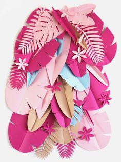 Tropical Party Backdrop Safari paper flowers backdrop