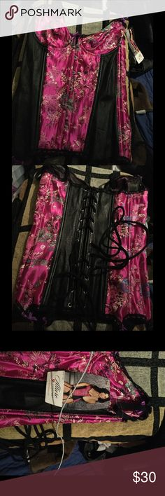 Leather trimmed Corset New with tags. Comes with only the Corset. Allure Lingerie Intimates & Sleepwear Shapewear