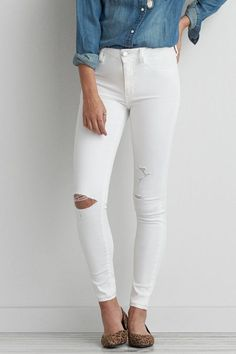 High Rise White Skinny Jeans Jegging Brand new never worn and without tags. White high rise 6 x-long American eagle Outfitters super super stretch skinny jeans. There are three holes and all three in the knee area. White Skinny Jeans, Ripped Jeans, Skinny Fit, American Eagle Shorts, Mens Outfitters, American Eagle Outfitters Jeans, High Waist Jeans, Jeggings, Lounge Wear