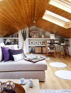 I like the wood, creams and muted purples Room Interior, Home Interior Design, Future House, Attic Spaces, Tiny House Living, Bedroom Loft, Decoration, New Homes, Sweet Home