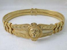 Judith Leiber Goldtone Two Strand Lion Head Stretch Belt Vintage | eBay