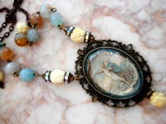 """Victorian Boho Handcrafted Glass Cabochon Organic Beads Pendant Necklace 21.5"""" by GlancingBack on Etsy"""