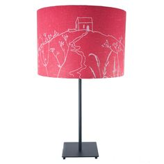 Rame Head Collection - Hand Printed Linen Lampshade £50.00 Lampshades Helen Round - Contemporary Textile Design