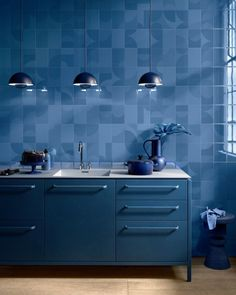Geometric ceramic wall tiles from our Psychedelia range. // Order your FREE samples online. Indigo Walls, Tiles For Sale, Retro Renovation, Blue Colour Palette, Interior Decorating, Interior Design, Color Tile, Tile Design, Soft Furnishings