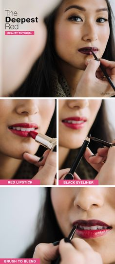 This season's hottest lip can be created with staples already in your makeup bag! Prep your lips with foundation, then apply a true red lipstick. Line and blend with black eyeliner to achieve depth and dimension. See the full tutorial on our Be Beautiful blog!
