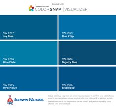 I found these colors with ColorSnap® Visualizer for iPhone by Sherwin-Williams: Jay Blue (SW 6797), Blue Plate (SW 6796), Hyper Blue (SW 6965), Blue Chip (SW 6959), Dignity Blue (SW 6804), Blueblood (SW 6966).