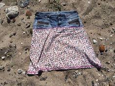 Blümchen Alte Jeans wird zum Rock