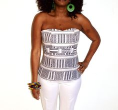 African Ankara Strapless bustier top, Strapless Black And White Blouse, Handmade Corset Top