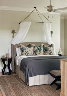 This chair would be perfect in my Bedroom! House of Turquoise: Interior Philosophy Master bedroom decor ideas. Tropical Bedrooms, Coastal Bedrooms, Guest Bedrooms, Beach Bedrooms, Beach Bedroom Decor, Home Bedroom, Bedroom Ideas, Master Bedroom, Bedroom Inspiration