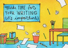 Make Time For Your Writing 5x7 doodle print by artsyville on Etsy, $8.00