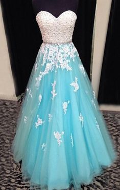 long prom dress,tulle Prom Dress,A-line prom dress,blue prom dress,lace up prom dress