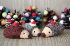 Needle felted hedgehog  in brown/gray with by MySecretCravings