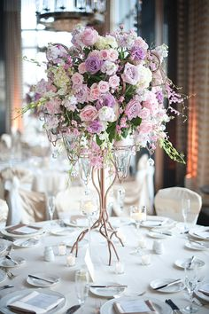 Flower centerpieces for wedding reception purple flower arrangements ideas flower table centerpieces wedding reception flowers best Unique Wedding Centerpieces, Wedding Reception Flowers, Lilac Wedding, Floral Centerpieces, Unique Weddings, Floral Wedding, Floral Arrangements, Wedding Bouquets, Wedding Decorations