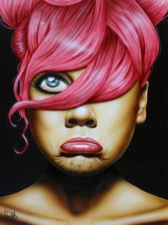 """Almost Famous"" - Scott Rohlfs, acrylic on wood, 2014 {female head expressive woman face portrait painting} http://www.distinctionart.com/scottrohlfsart"