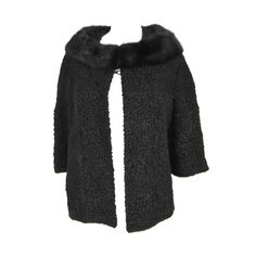 1960s Vintage SCHIAPARELLI Black Persian Lamb Shrug-Jacket Mink at 1stdibs - Offered By Park Avenue Couture $1,250