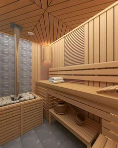 Saunas, Sauna Design, Sauna Room, Infrared Sauna, Steam Room, Modern Barn, Home Spa, Scandinavian Style, Photo Wall