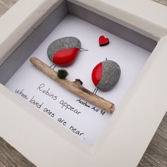 Robins pebble picture Grief and mourning pebble Family loss Stone Crafts, Rock Crafts, Robin Pictures, Photo Frame Decoration, Dragon Fly Craft, Teachers Day Gifts, Pebble Pictures, Button Art, Stone Painting