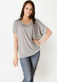 Dolman Sleeve Solid Grey Top Price: Rs 799