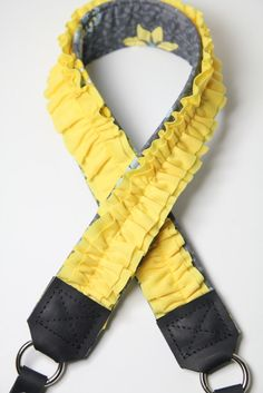 Yellow Ruffle Camera Strap  Premier Edition Zoetope by PhatStraps, $47.95