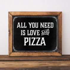 Pizza party decorations. Printable table sign: All you need is love and pizza. Pizza birthday party. Digital file. Pizza party chalkboard Rustic Style, Printables, Unique, Party, Creative, Wedding, Home Decor, Etsy Seller, Mariage
