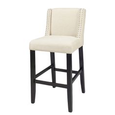 This wing back upholstered barstool's transitional style would work in many interiors . Double chrome nail trim adorns the winged back and outlines it perfectly. An espresso base is a great contrast to the off white linen-like fabric.