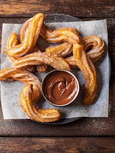 churros with chocolate and espresso sauce Churros have to be amongst my all-time. - churros with chocolate and espresso sauce Churros have to be amongst my all-time favourite sweet tr - I Love Food, Good Food, Yummy Food, Tasty, Mexican Food Recipes, Sweet Recipes, Dip Recipes, Mexican Desserts, Food Goals