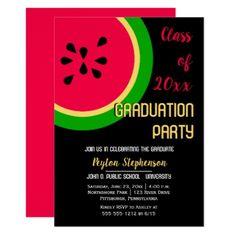 Bold Modern Watermelon Graduation Party Card - graduation party invitations card cards cyo grad celebration