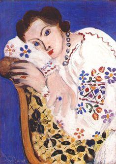 Henri Matisse, 1936 - sleeveless white blouse with collar, blue and white polka dot blouse, women's blouses *ad