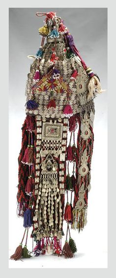 Afghan bridal headdress; embroidered material, decorated with silver, silver toned metal and coloured stones | 1'200$ ~ sold (Apr '05)